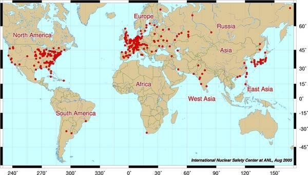 Le centrali nucleari nel mondo.